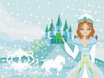 Den härliga prinsessan väntar på vagnen Royaltyfria Bilder
