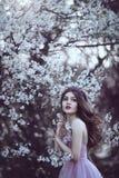 Den härliga romantiska flickan med långt hår i rosa färger klär nära blomningträd Arkivbilder