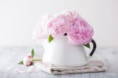 Den härliga rosa pionen blommar buketten i vas arkivbilder
