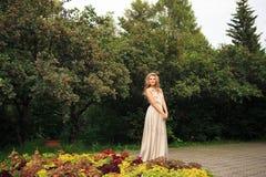 Den härliga sexiga kvinnan går i parkera royaltyfri fotografi