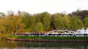 Den härliga sikten av sjön och springbrunnen, Tsaritsyno parkerar stock video
