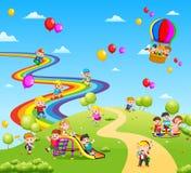Den härliga sikten mycket av barnen och colourfullballongen royaltyfri illustrationer
