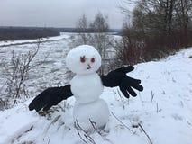 Den härliga snögubben med handskar kom med vinter royaltyfri foto