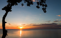 Den härliga solnedgången i vintern Fotografering för Bildbyråer