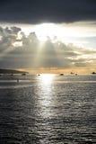 Den härliga solnedgången på den engelska fjärden Vancouver arkivfoton