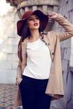 Den härliga som en lady kvinnan i elegant kläder som poserar i höst, parkerar Fotografering för Bildbyråer