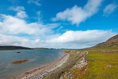 Den härliga sommararktisken landskap med fjärden. Barents hav Arkivfoto