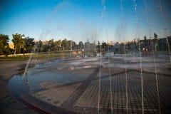 Den härliga springbrunnen parkerar in, den gamla Bukhara staden, Uzbekistan arkivbilder