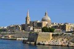 Den härliga staden av Valletta i Malta Fotografering för Bildbyråer