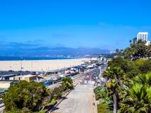 Den härliga stranden på Santa Monica i Los Angeles, USAsand strand Arkivfoto