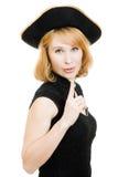 den härliga svarta hatten piratkopierar kvinnan Arkivbild