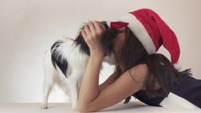 Den härliga tonåriga flickan och hunden kontinentala Toy Spaniel Papillon i Santa Claus caps joyfully att kyssa och att bedra omk stock video