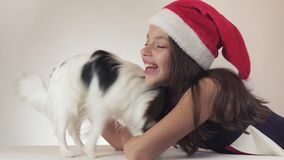 Den härliga tonåriga flickan och hunden kontinentala Toy Spaniel Papillon i Santa Claus caps joyfully att kyssa och att bedra omk lager videofilmer