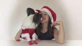 Den härliga tonåriga flickan och hunden kontinentala Toy Spaniel Papillon i Santa Claus kostymerar joyfully att kyssa och att bed lager videofilmer