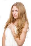 den härliga torkduken räknade flickawhite Royaltyfri Fotografi