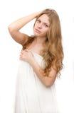 den härliga torkduken räknade flickawhite Arkivfoton