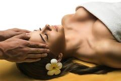 Den härliga unga flickan har en ansikts- massage fotografering för bildbyråer