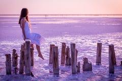 Den härliga unga flickan som sitter på staketet på, saltar sjön royaltyfri foto