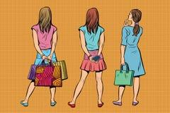 Den härliga unga kvinnan i en klänning och kjolen är tillbaka royaltyfri illustrationer