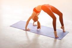 Den härliga unga kvinnan som gör yogaövningsbron, poserar Fotografering för Bildbyråer