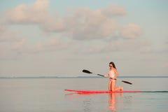 Den härliga unga kvinnan som surfar på, står upp skoveln Royaltyfri Foto
