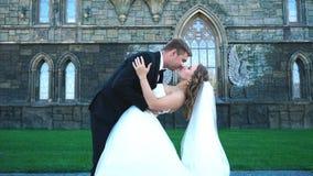 Den härliga ursnygga bruden och brudgummen som går i soligt, parkerar och att kyssa lyckliga brölloppar som kramar i gräsplan, ar arkivfilmer
