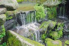 Den härliga vattenfallet med strålar av vatten på vaggar Royaltyfria Bilder