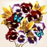 Den härliga vektorbakgrundsdesignen med realistiska violets blommar Royaltyfri Fotografi