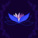 Den härliga vektorlotusblommablomman på blå bakgrund med figurerat krulla fodrar royaltyfri illustrationer