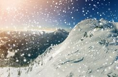 Den härliga vintern landscape Brant bergkullelutning med vit royaltyfria foton