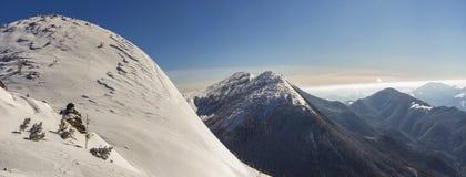 Den härliga vintern landscape Brant bergkullelutning med vit royaltyfri fotografi