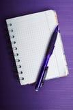 Den härskade anteckningsboken med en rita på en violett korrugerad backgroun Royaltyfri Foto