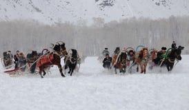 Den hästdragna slädematchen Arkivbild
