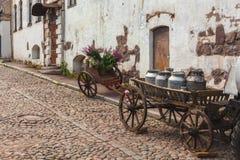 Den hästdragna vagnen med mjölkar Royaltyfria Foton