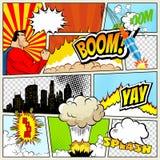 Den höga detaljvektormodellen av den typiska humorboksidan med olika anförandebubblor, symboler och solida effekter färgade stock illustrationer