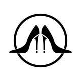 Den höga hälet skor symbolen Arkivfoto