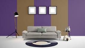 Den höga illustrationen för upplösning 3d med brunt och lilor färgar väggbakgrund och möblemang Fotografering för Bildbyråer