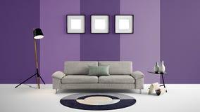 Den höga illustrationen för upplösning 3d med purpurfärgade och mörka lilor färgar väggbakgrund och möblemang Royaltyfri Fotografi