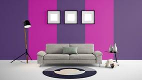 Den höga illustrationen för upplösning 3d med rosa färger och lilor färgar väggbakgrund och möblemang Royaltyfria Bilder