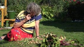 Den höga landskvinnan sitter i grönsakträdgård och samtal vid mobiltelefonen 4K arkivfilmer