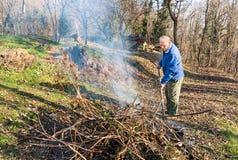 Den höga mannen bränner torra filialer i trädgården Royaltyfri Fotografi