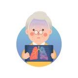 Den höga mannen har Lung Cancer stock illustrationer