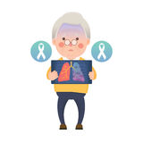 Den höga mannen har Lung Cancer Ribbon royaltyfri illustrationer