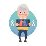 Den höga mannen har Lung Cancer Ribbon stock illustrationer