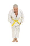 Den höga mannen i karate poserar Royaltyfri Fotografi