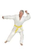 Den höga mannen i karate poserar Arkivfoton