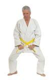 Den höga mannen i karate poserar Arkivbild