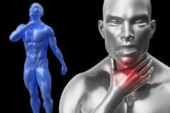 Den höga mannen med halsen eller halsen smärtar retning illustration 3d Royaltyfria Bilder