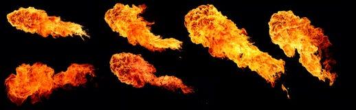 Den höga upplösningssamlingen av flamman, sex stora flammor isolerade nolla Fotografering för Bildbyråer