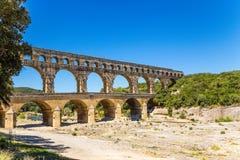 Den högsta fortleva antika akvedukten Pont du Gard, Frankrike Arkivfoton